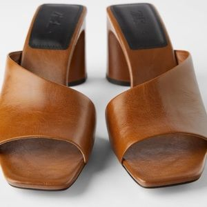 Zara asymmetrical heeled leather slides